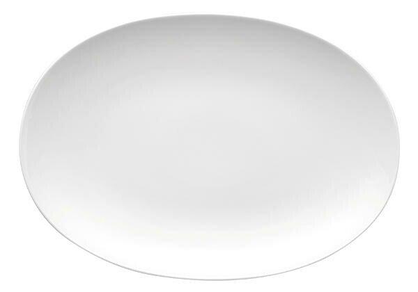 Thomas Platte 33 cm x 22,5 cm oval Medaillon Weiss weiss