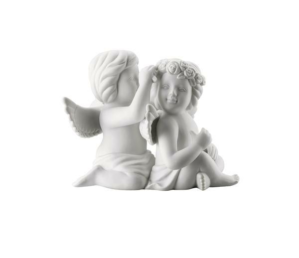 Rosenthal Engelpaar gross mit Blumen Weiss matt
