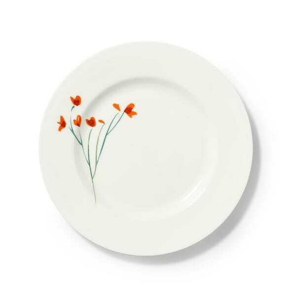 Dibbern Teller flach 28 cm Impression Blume rot