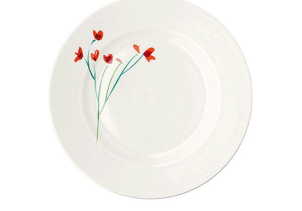 Dibbern Teller 26,5 cm Impression Blume Rot flach