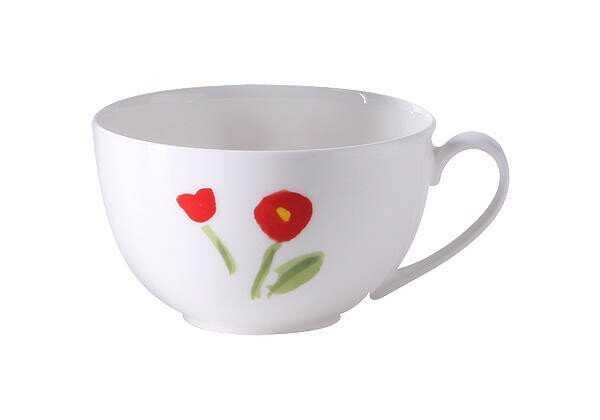 Dibbern Kaffeetasse 0,25l rund Impression Blume rot