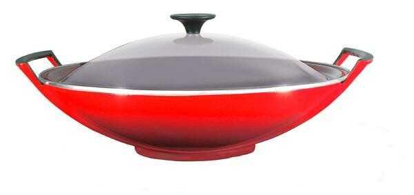 Le Creuset Wok mit Glasdeckel 36 cm kirschrot