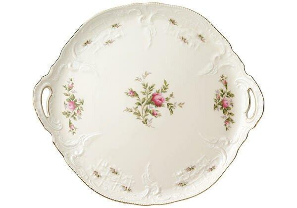 Rosenthal Tortenplatte rund Sanssouci Elfenbein Moosrose neu Poliergold Ramona