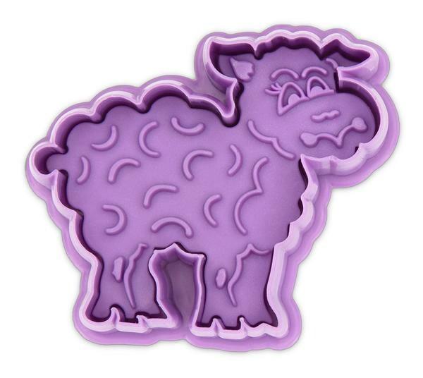 Städter Präge Ausstecher Schaf 6 cm mit Auswerfer Kunststoff lila